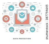 flat line data protection... | Shutterstock .eps vector #387754645