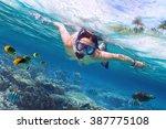 beautiful women snorkeling in...   Shutterstock . vector #387775108