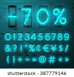 neon light alphabet vector font.... | Shutterstock .eps vector #387779146