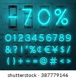 vector neon glowing alphabet... | Shutterstock .eps vector #387779146