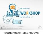 workshop and marketing concept. ... | Shutterstock .eps vector #387782998