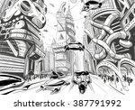 future city hand drawn sketch.... | Shutterstock .eps vector #387791992
