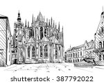 prague city hand drawn sketch.... | Shutterstock .eps vector #387792022