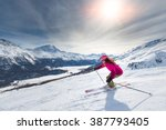 Female skier in downhill slope
