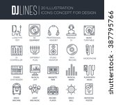 thin lines icons of dj staff...