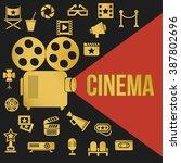 movies retro video projector... | Shutterstock .eps vector #387802696