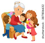 grandmother sitting in chair.... | Shutterstock .eps vector #387806632