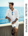 handsome man in whit clothes... | Shutterstock . vector #387823948