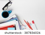 office table desk with set of... | Shutterstock . vector #387836026