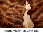 model with long red hair. waves ... | Shutterstock . vector #387845182