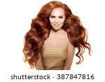 model with long red hair. waves ... | Shutterstock . vector #387847816