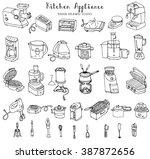 hand drawn doodle kitchen... | Shutterstock .eps vector #387872656