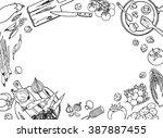 cooking sketchy banner. top...   Shutterstock .eps vector #387887455