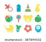 set of baby objects colorful... | Shutterstock .eps vector #387894532