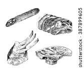 vector meat sketch drawing....   Shutterstock .eps vector #387899605
