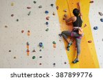 sporty girl practicing climbing ... | Shutterstock . vector #387899776