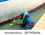 scuba diver with snorkel and... | Shutterstock . vector #387900646