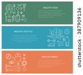 set of flyers with diet and... | Shutterstock .eps vector #387909136