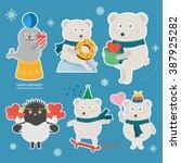polar bear   seal   penguin | Shutterstock .eps vector #387925282