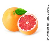 whole and cut grapefruits with... | Shutterstock .eps vector #387930412