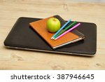 a green apple displayed with a... | Shutterstock . vector #387946645