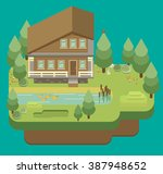 chalet  wooden house  eco house ... | Shutterstock .eps vector #387948652