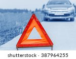 car with problems and a red... | Shutterstock . vector #387964255