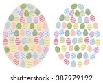 a set of multi colored eggs or... | Shutterstock .eps vector #387979192