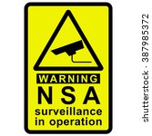 nsa surveillance warning | Shutterstock . vector #387985372