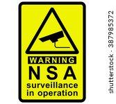 nsa surveillance warning | Shutterstock . vector #387985372