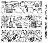 food flyer set   kitchen tools  ... | Shutterstock .eps vector #387999466