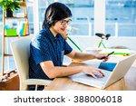 smiling hipster businessman... | Shutterstock . vector #388006018