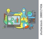 flat design website development ... | Shutterstock .eps vector #388017436