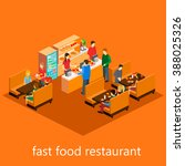 isometric fast food restaurant | Shutterstock .eps vector #388025326