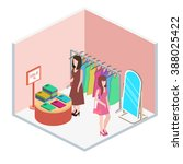 isometric interior of clothes... | Shutterstock .eps vector #388025422