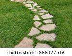 Stone Path On A Green Grassy...