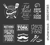 set of vintage food related... | Shutterstock .eps vector #388039585