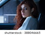 redhead woman with earbuds... | Shutterstock . vector #388046665