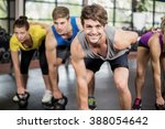 fitness class lifting dumbbells ... | Shutterstock . vector #388054642