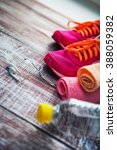 Small photo of Fitness equipment and healthy nutrition