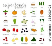 hand drawn superfoods isolated... | Shutterstock .eps vector #388063426