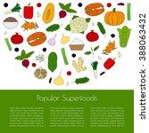 popular superfoods concept.... | Shutterstock .eps vector #388063432