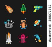 nine stylish space icons | Shutterstock . vector #388071982