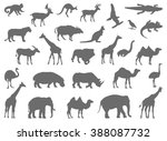 wild animals silhouette | Shutterstock .eps vector #388087732