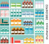 shelves in the pharmacy with... | Shutterstock .eps vector #388106902