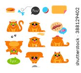 red cat. set of characters.... | Shutterstock .eps vector #388129402