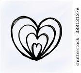 vector doodle heart isolated.... | Shutterstock .eps vector #388131376