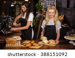 pretty waitresses behind the... | Shutterstock . vector #388151092