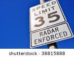 35 miles per hour sign  radar... | Shutterstock . vector #38815888