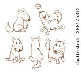 cartoon funny dogs set. vector... | Shutterstock .eps vector #388175392